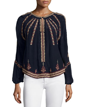 Embroidered Long-Sleeve Top, Navy
