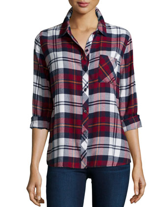 Hunter Plaid Long-Sleeve Shirt, Wine/Ivory/Flannel