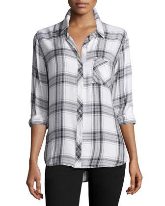 Hunter Plaid Long-Sleeve Shirt, Wine/Ash