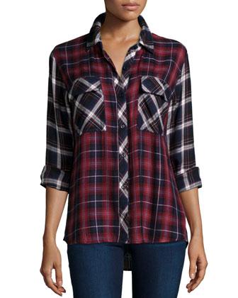 Liza Two-Tone Plaid Long-Sleeve Shirt, Navy/Wine