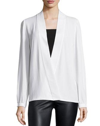 Long-Sleeve Wrap Blouse, White