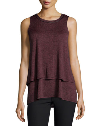 Marble Sleeveless Layered Top, Sienna
