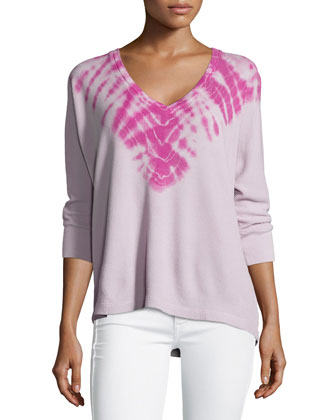 Kaleidoscope Thermal 3/4-Sleeve Top, Clay/Electric Purple