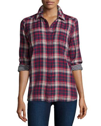 Hunter Plaid Long-Sleeve Shirt, Fiesta