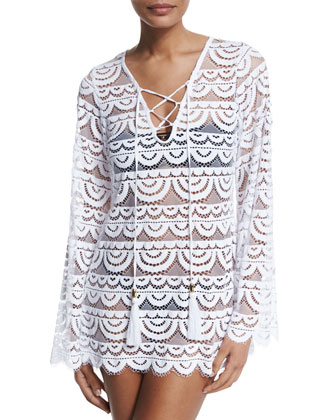 Noah Crocheted Tunic Coverup, Water Lily