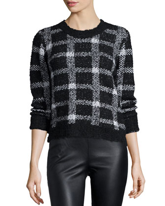 Boxed In Long-Sleeve Sweater, Black/White