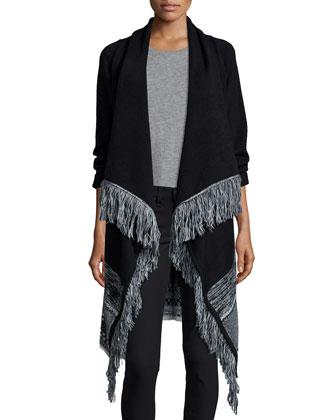 Ukraine Fringe-Trim Wrap Sweater, Black