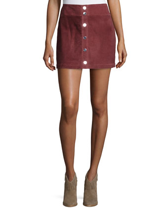 Lotta Suede Mini Skirt, Brick Red