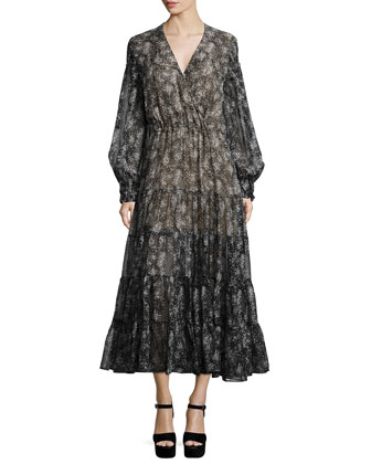 Long-Sleeve Tiered Wrap Dress, Slate