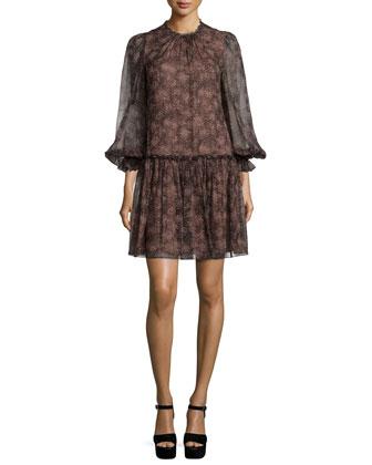 3/4-Sleeve Smocked-Neck Dress, Bordeaux