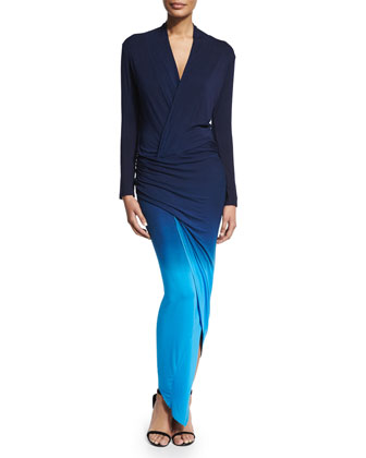 Brielle Long-Sleeve Maxi Dress, Blue Ombre