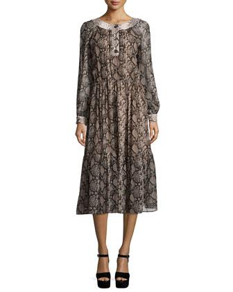 Long-Sleeve Python-Print Peasant Dress, Taupe