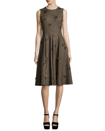 Sleeveless Embellished Dance Dress, Fawn