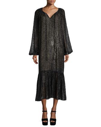 Long-Sleeve Metallic Peasant Dress, Graphite