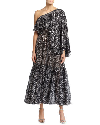 One-Shoulder Metallic Dot-Print Dress, Slate