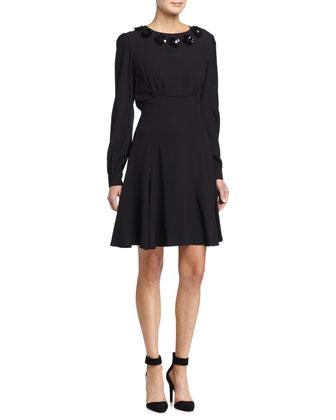 Embellished-Neck Mini Flare Dress, Black