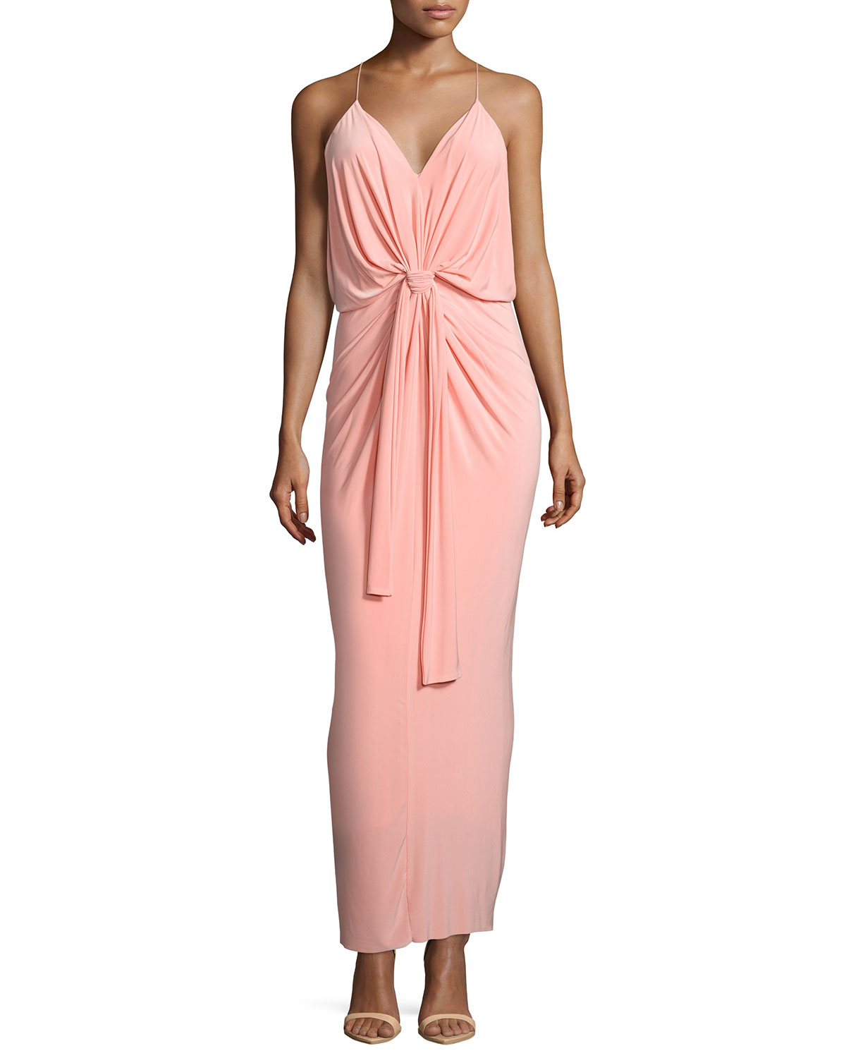 Sleeveless Tie-Front Maxi Dress, Blush, Size: X-SMALL, Pink - T Bags