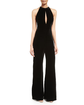 Halter-Neck Wide-Leg Velvet Jumpsuit, Black