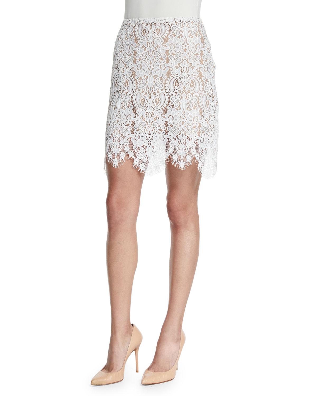 Vika Lace Mini Skirt, Ivory, Size: LARGE - For Love & Lemons