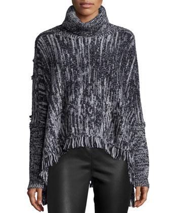 Elsa Turtleneck Fringe-Hem Sweater, Black