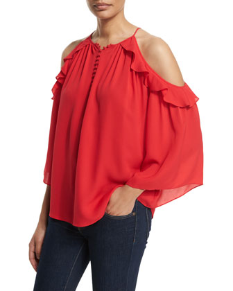 Alea Cold-Shoulder Ruffle Blouse, Pink