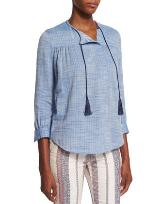 3/4-Sleeve Shirt with Ties, Pale Chambray