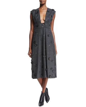 Grommet & Floral Embellished Dress, Banker