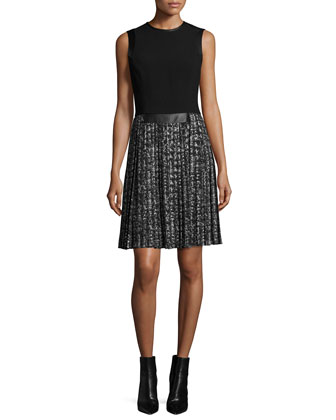Sleeveless Pleated-Skirt Dress, Black