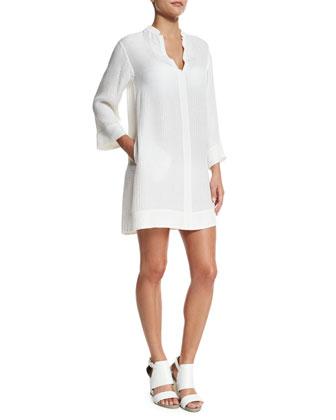Croco Jacquard Coverup Dress, White