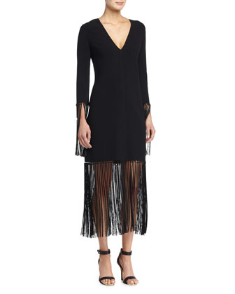Long-Sleeve V-Neck Shift Dress W/Fringe, Black