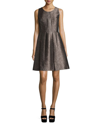 Sleeveless Pleated Bell Dress, Taupe