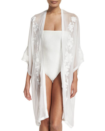 Babani Embroidered Open-Front Coverup