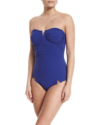 Serena Solid V'd One-Piece Swimsuit