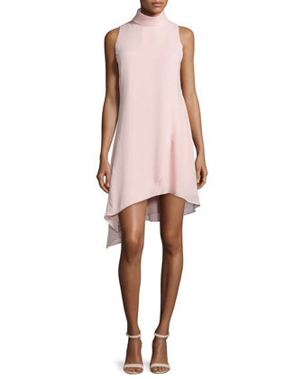 Sleeveless High-Neck Asymmetric Cocktail Dress