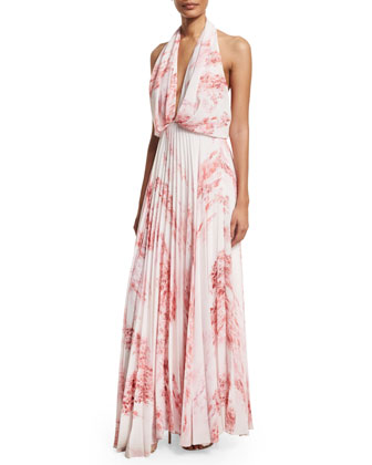 Sleeveless Halter Floral-Print Maxi Dress