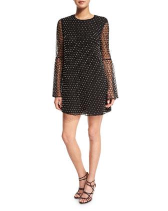 Long-Sleeve Beaded Net Tulle Dress