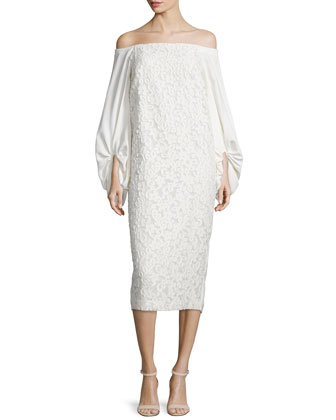 Off-the-Shoulder Lace Sheath Dress