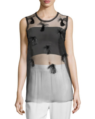Sleeveless Sheer Fil Coupe Top, Black