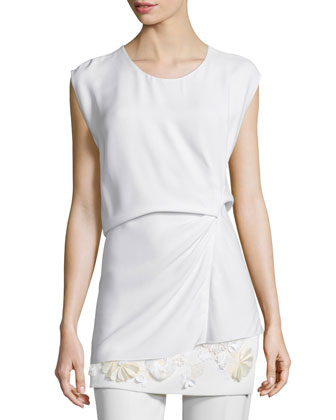 Ruched Asymmetric Shell Top, White