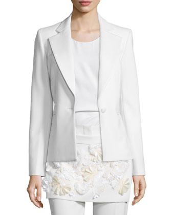 One-Button Welt-Pocket Blazer, White