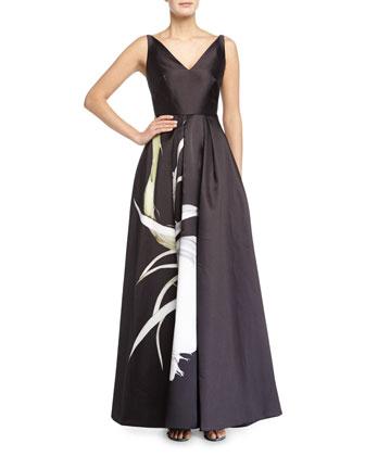 Sleeveless Floral-Print Mikado Gown