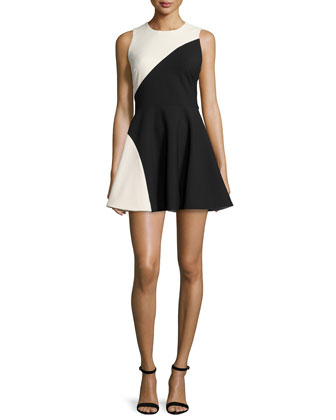 Randall Two-Tone Fit-&-Flare Dress, Black/Vanilla