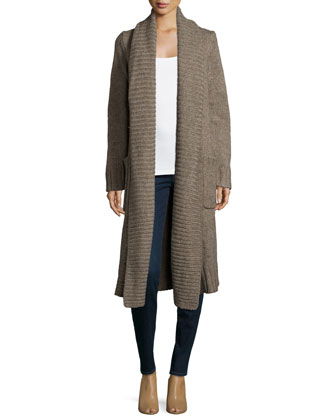 Open-Front Long Cardigan, Bison