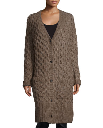 Button-Front Textured Long Cardigan, Java