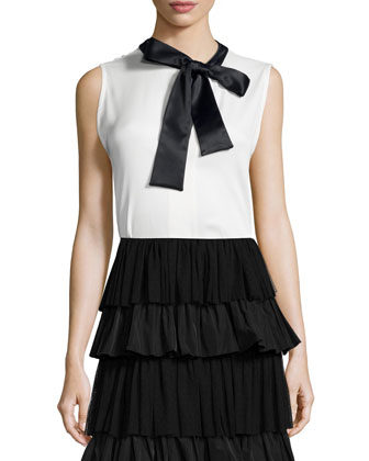 Daxana Tie-Front Crepe Blouse, White