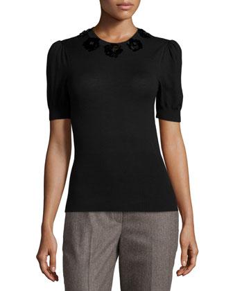 Embellished Puff-Sleeve Blouse, Black