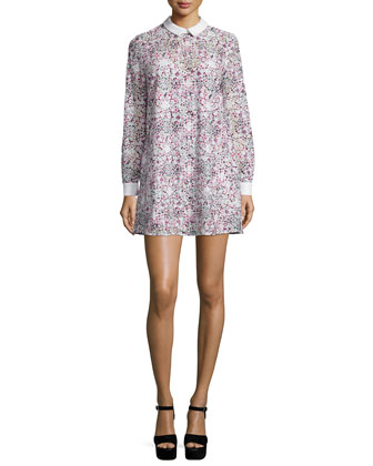 Maris Printed-Lace Shift Dress, Begonia Combo