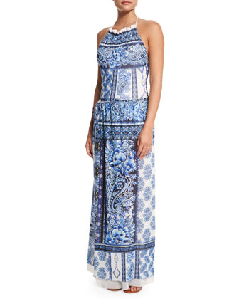 Printed Maxi Wrap Coverup Skirt