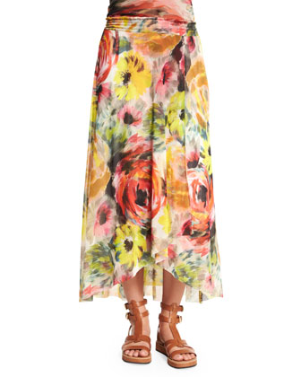 Bright Rose-Print Coverup Skirt/Dress