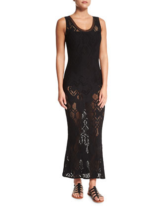 Lace Slip Maxi Dress, Black
